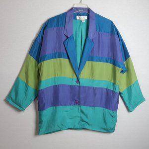 Vintage Sunny Leigh 100% Silk Color Block Blazer